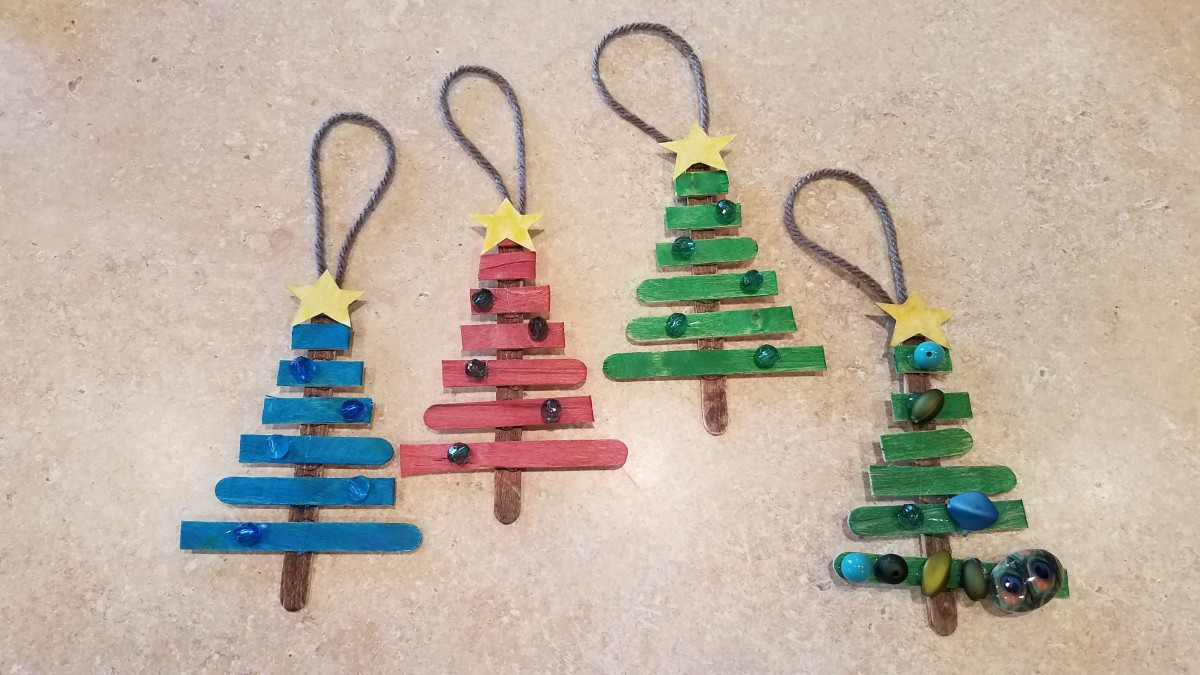 Popsicle stick trees can be decorated however you want.