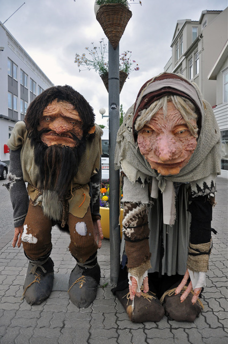 Puppets of Grýla and Leppalúði in Iceland