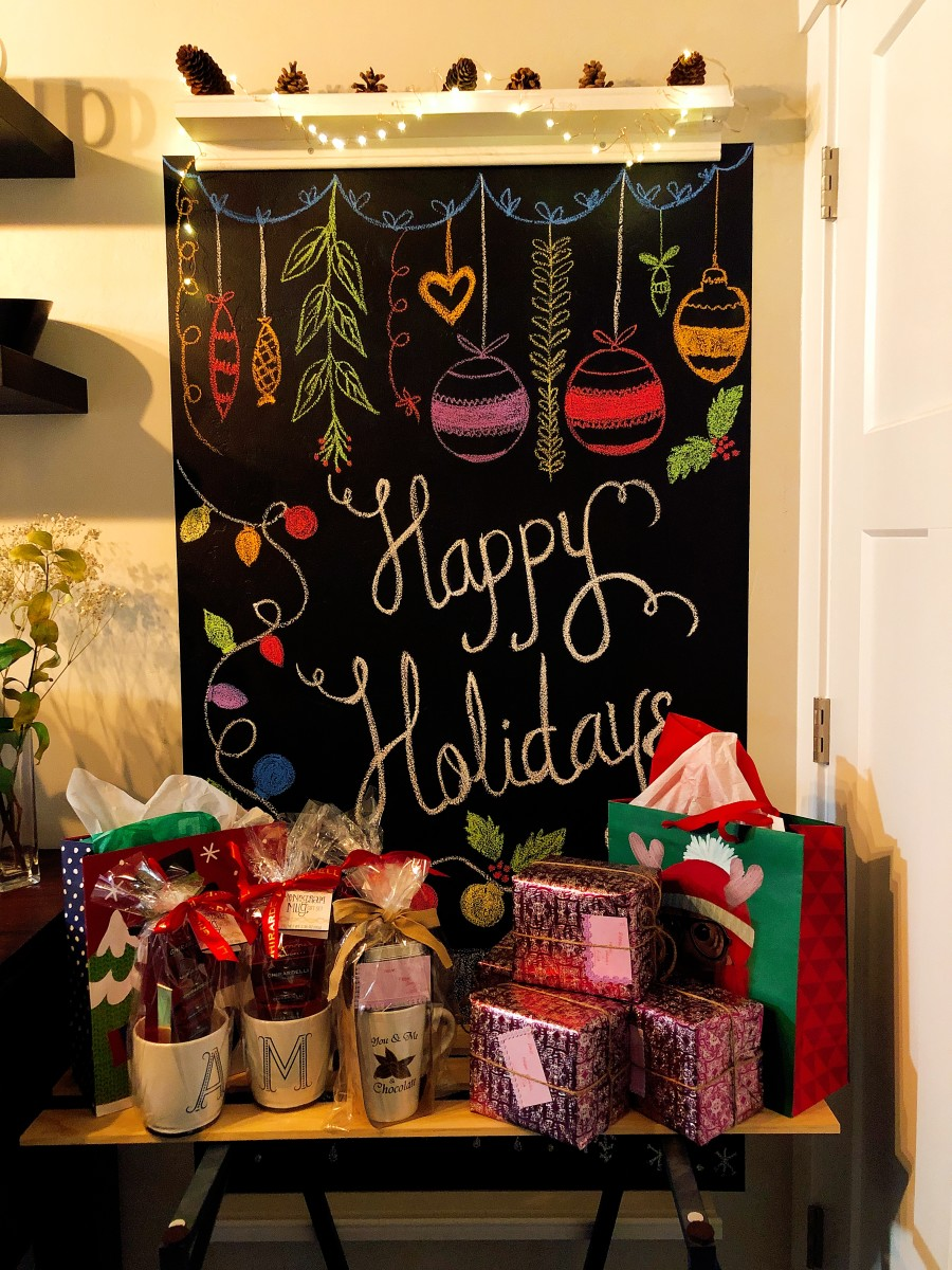 This is my decorative chalkboard. I like to adorn it with seasonal sketches and surround it with gifts for family members.