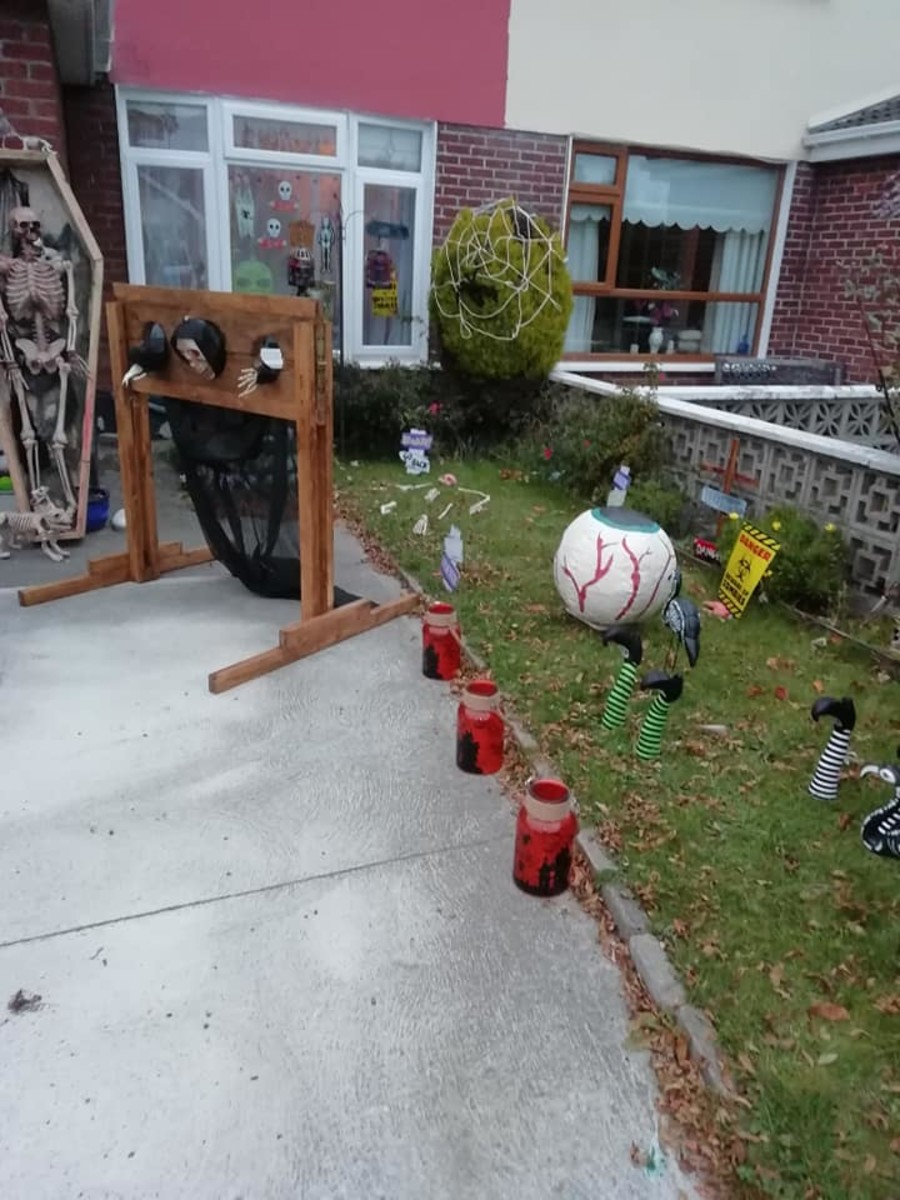 This is part of my front yard Halloween display. I make all of my own decorations.