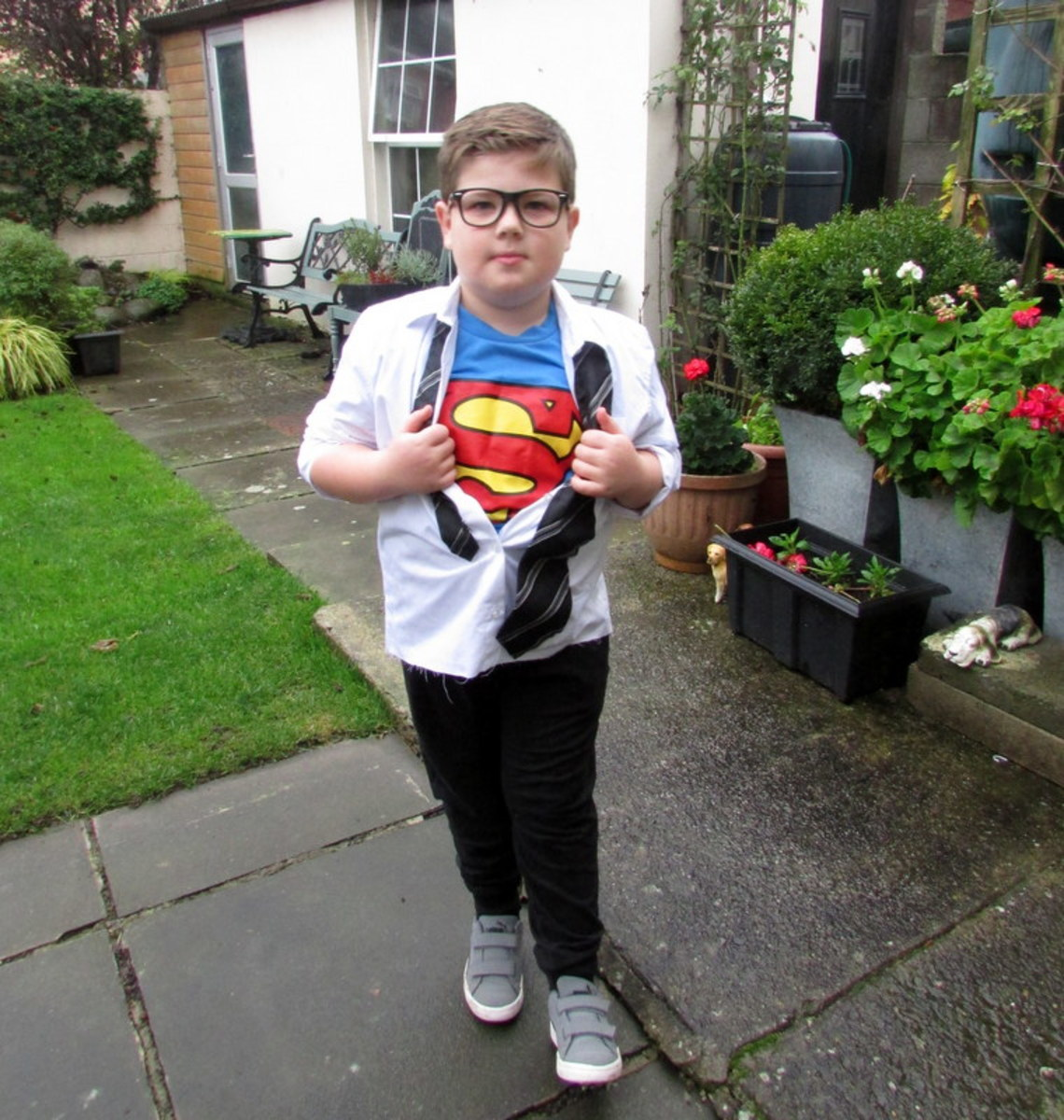 My son loves his Superman/Clark Kent costume.
