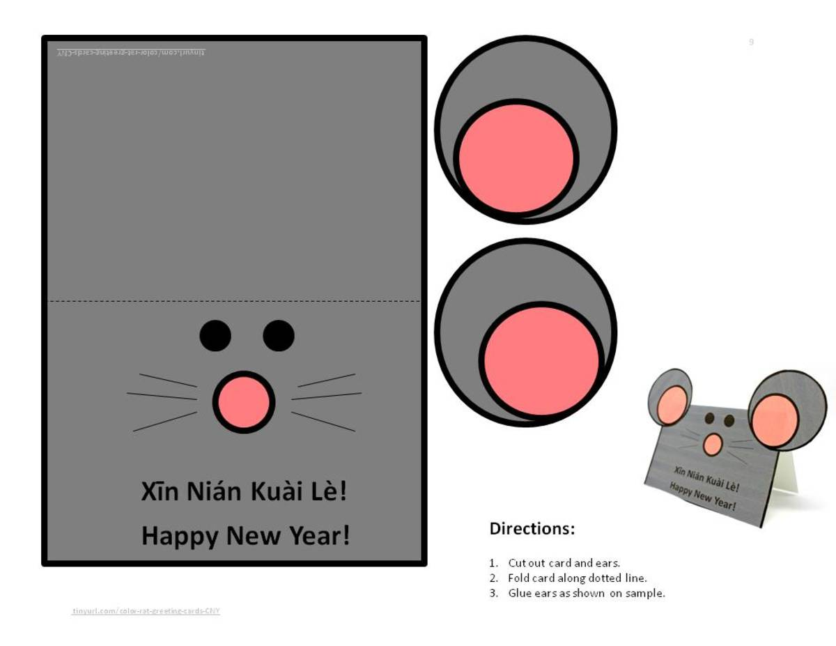 Rat Card with Ears—click on the orange link below to print a .pdf copy.