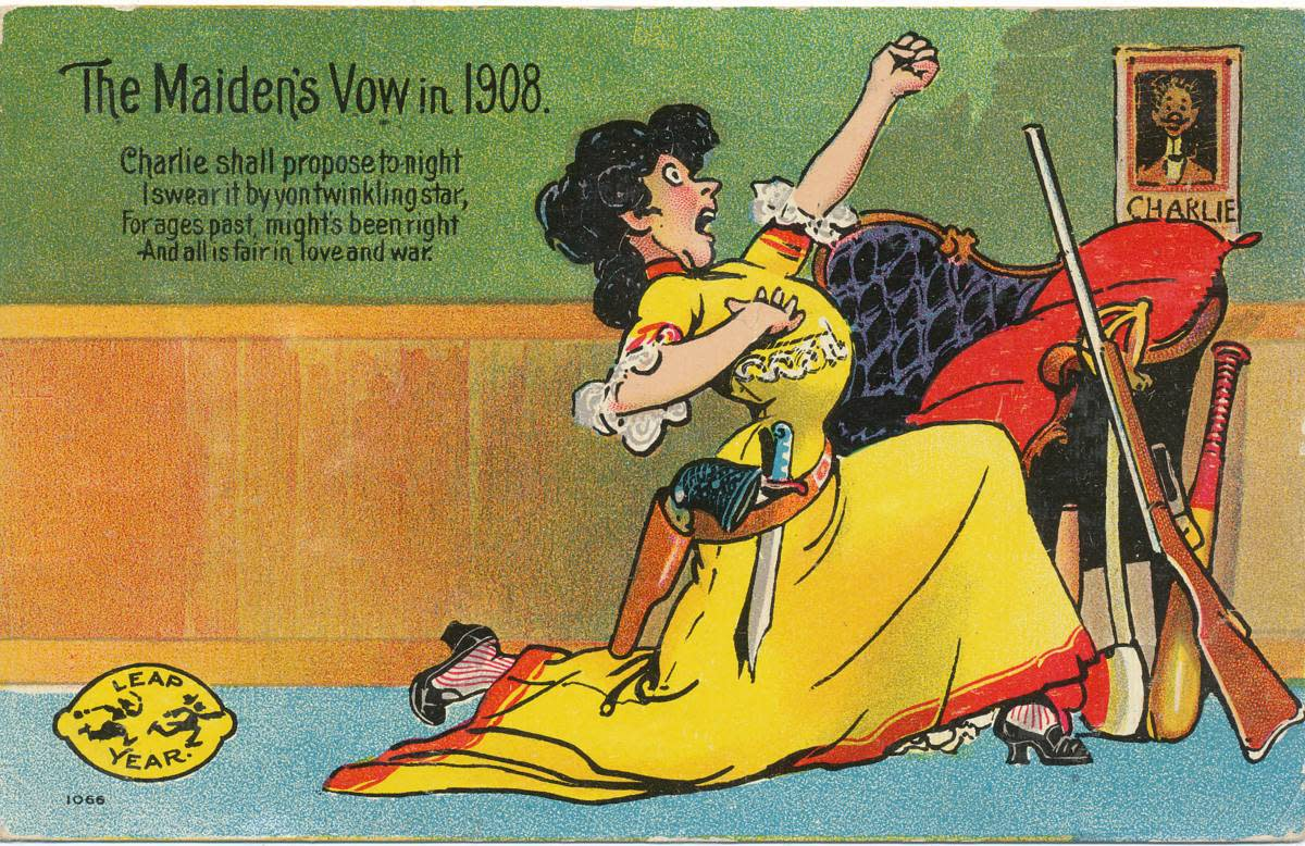 """This 1908 postcard reads """"Charlie shall propose tonight, I swear it by yon twinkling star, For ages past might's been right, and all is fair in love and war."""""""