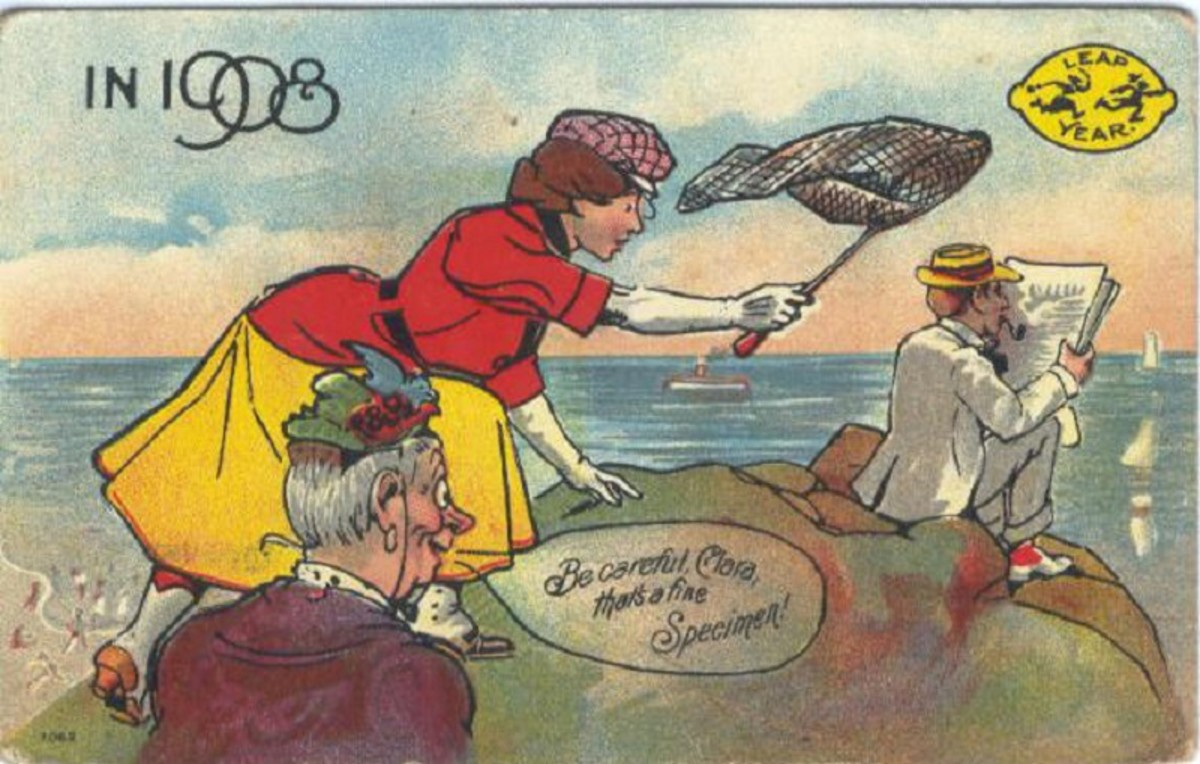 """This comic postcard is from the leap year 1908. A potential mother-in-law instructs her daughter on a man-hunt. """"Be careful, Clara, that's a fine Specimen!'"""""""