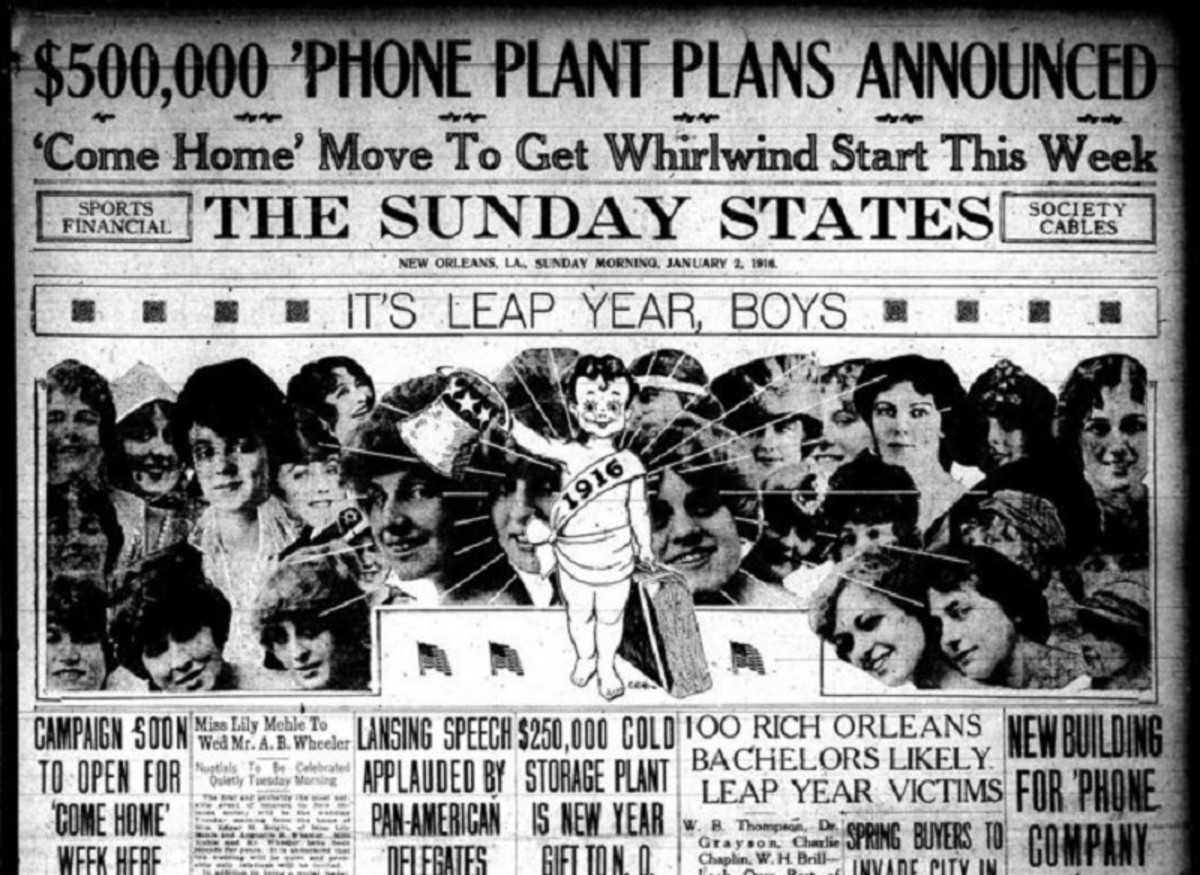 """New Orleans """"The Sunday States"""" newspaper, 2 Jan 1916. The """"Baby New Year"""" is surrounded by young women with the headline """"It's Leap Year, boys""""."""