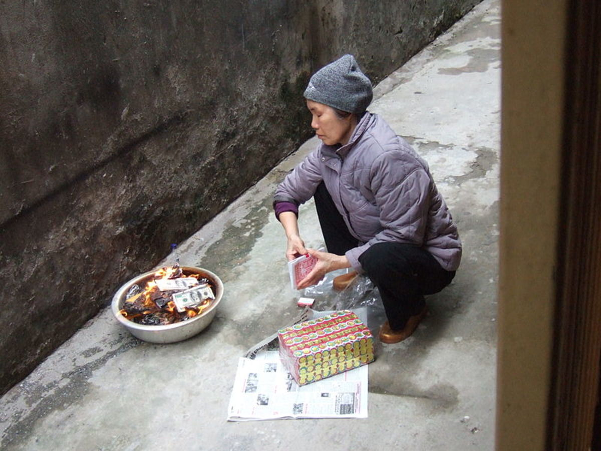 Burning fake money in China
