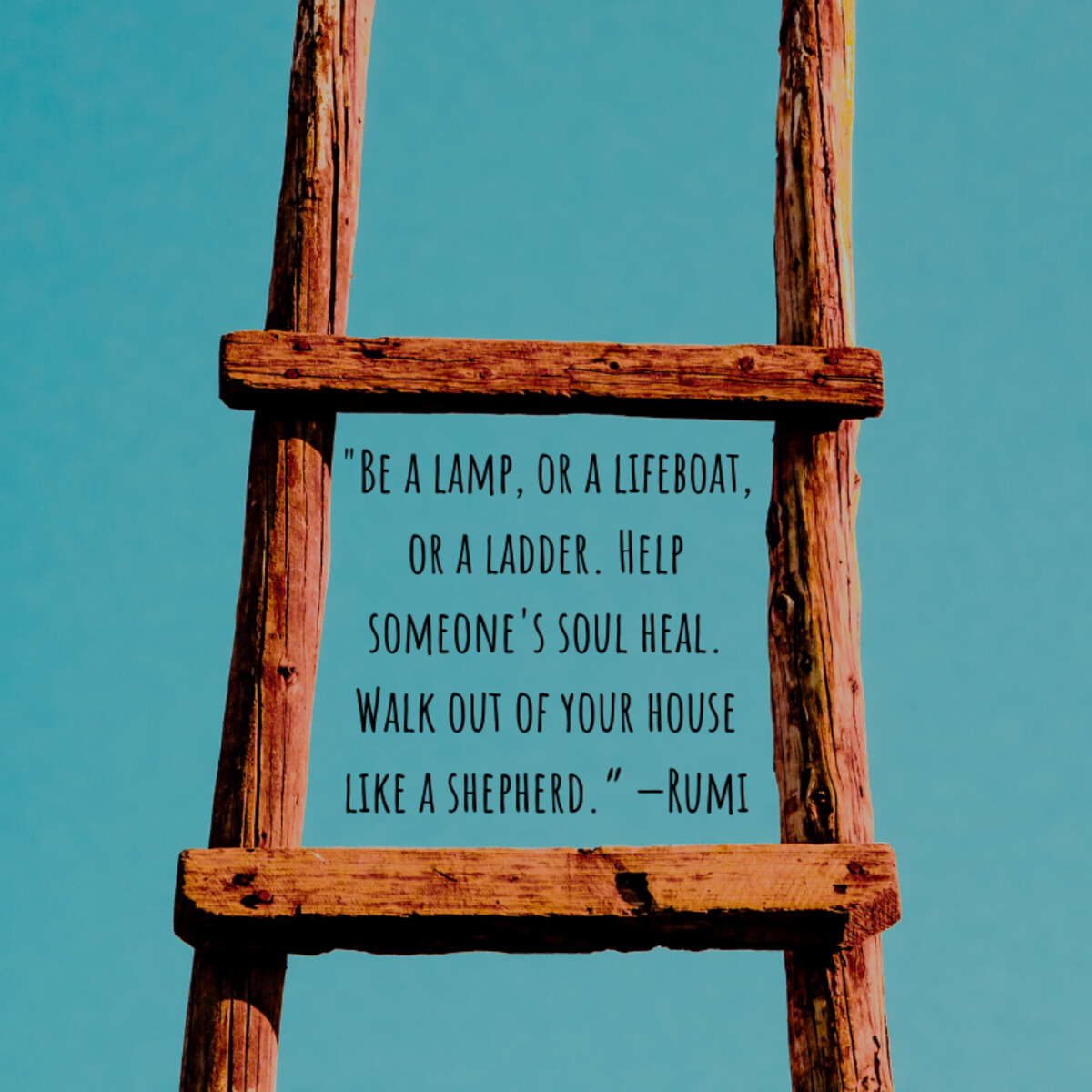 """Be a lamp, or a lifeboat, or a ladder. Help someone's soul heal. Walk out of your house like a shepherd."" —Rumi"