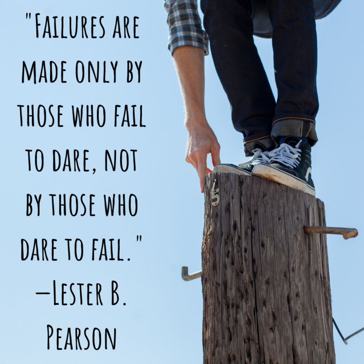 """Failures are made only by those who fail to dare, not by those who dare to fail."" —Lester B. Pearson"