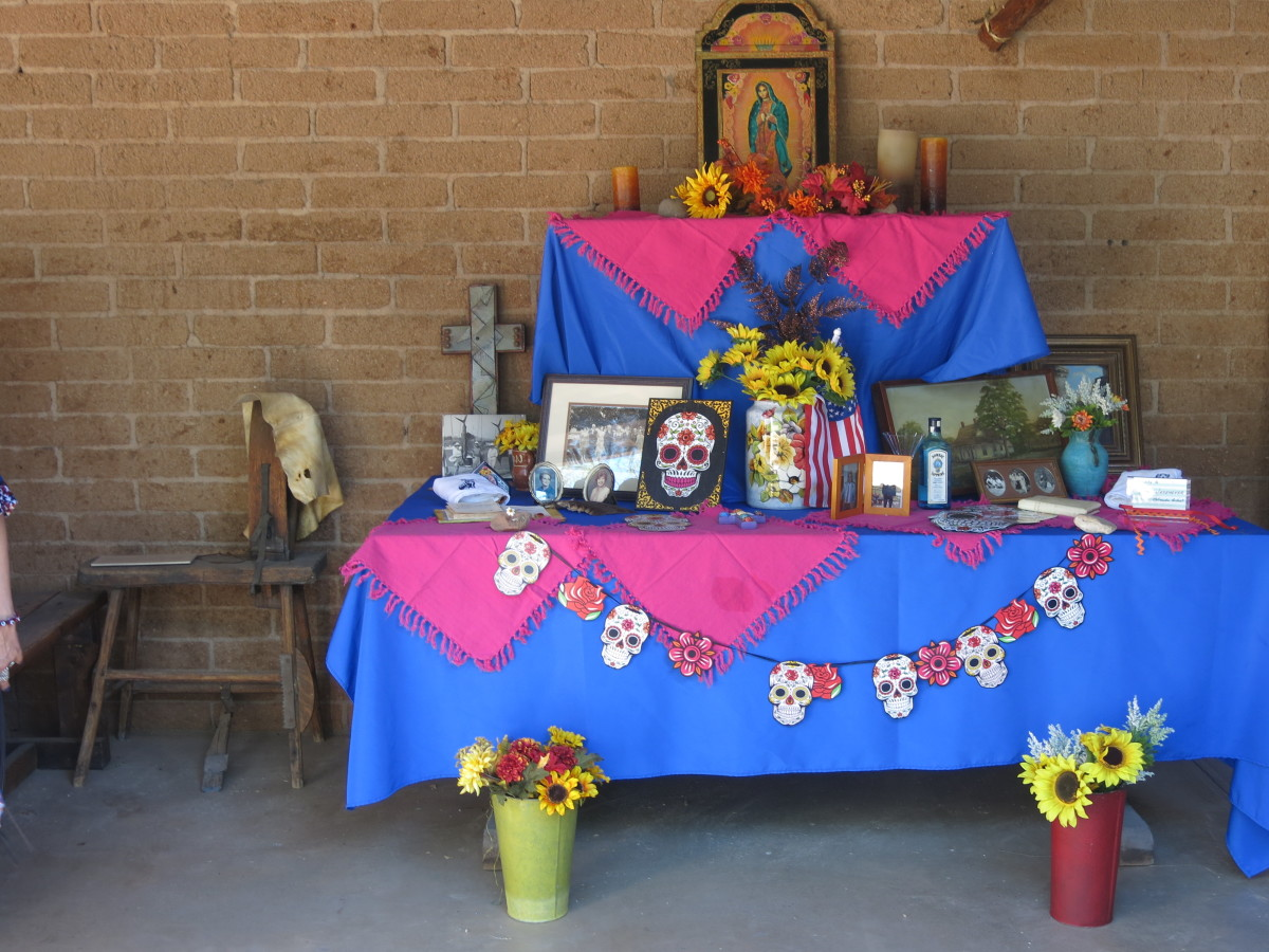 A more elaborate family altar honoring deceased family members at 2017 Tubac Day of the Dead festival
