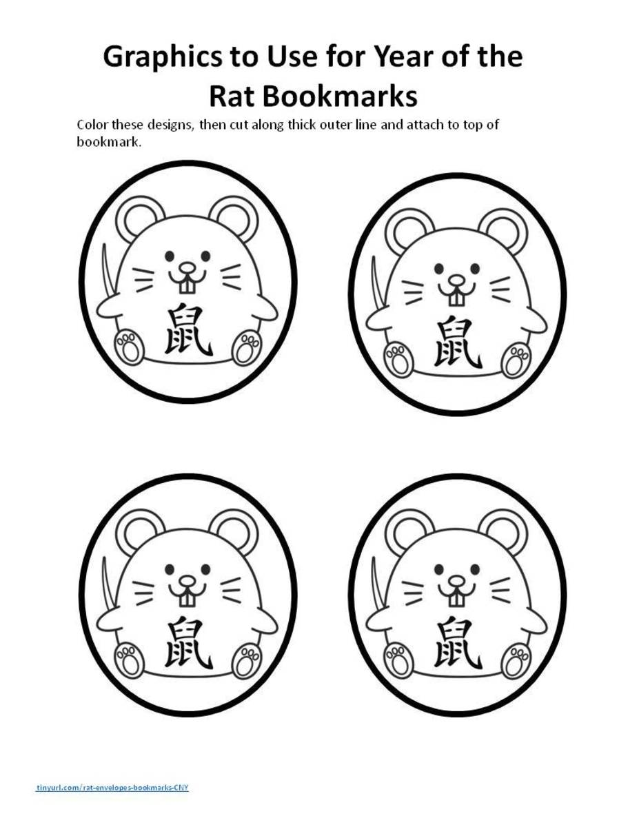 Graphic template for Year of the Rat bookmarks. To print a pdf, click on the orange link above in this article.
