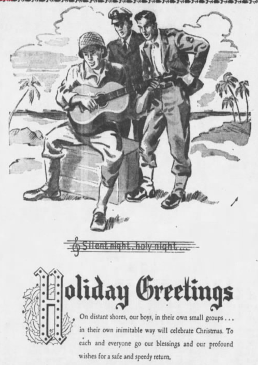 This advertisement was from printed on page 32 of The Daily Tribune in Wisconsin Rapids, Wisconsin, on Monday, Dec 24th, 1945.