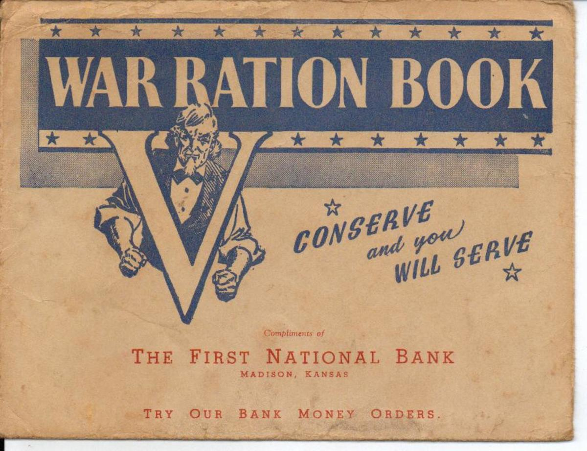 This is a ration booklet from World War II. Some foods were limited as they were needed for the troops and also for refugees who were starving overseas.
