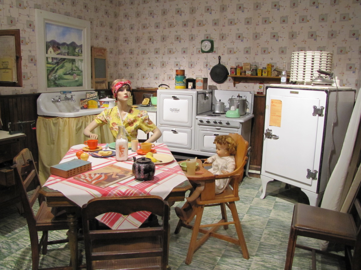 A 1940s kitchen on display at the WWII museum in Wolfboro, New Hampshire.