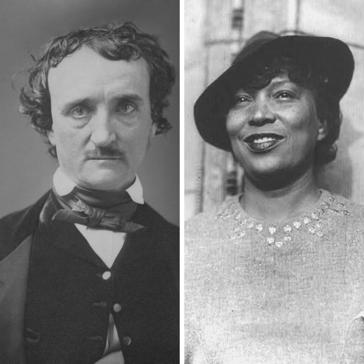 Renowned authors Edgar Allan Poe (left) and Zora Neale Hurston (right) were both born in January.