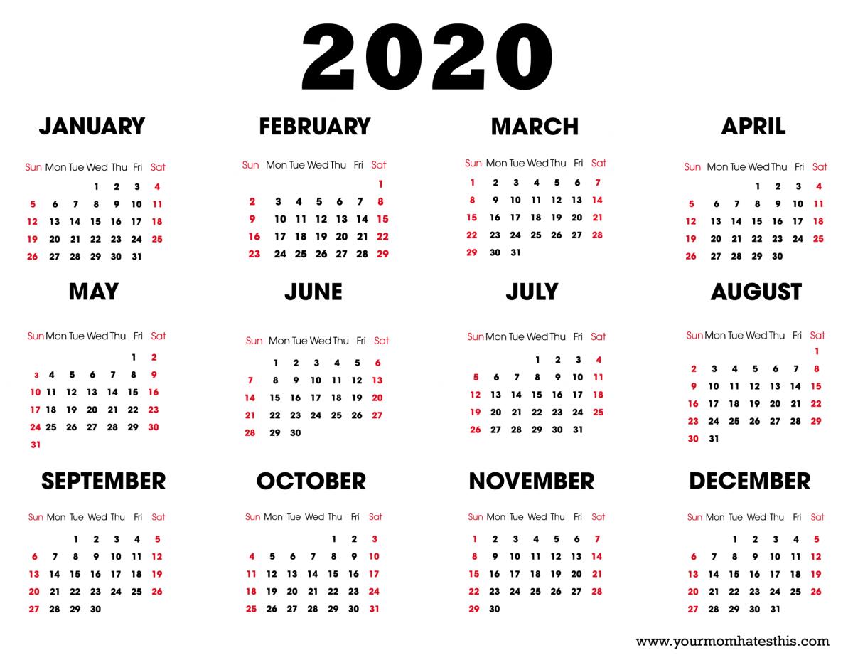 A 2020 calendar