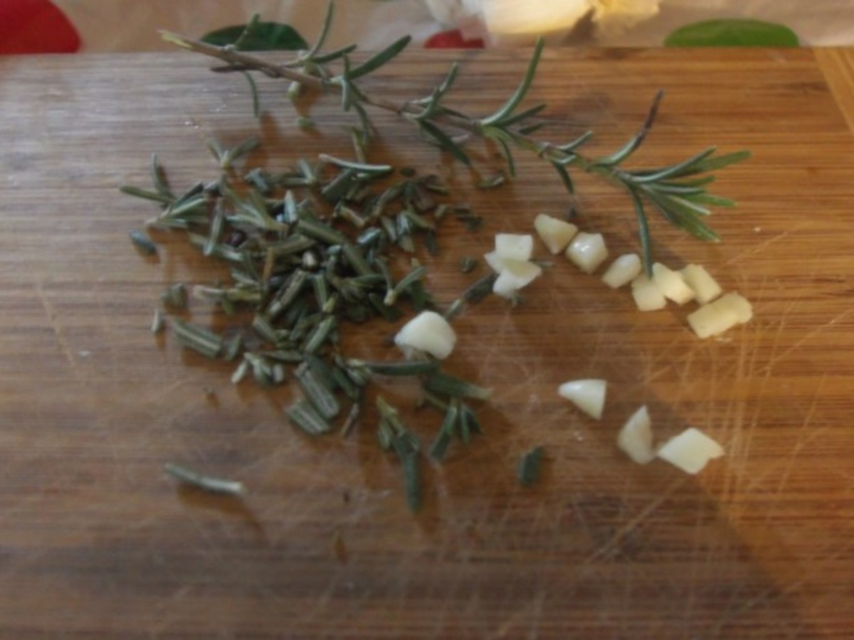 Chop your garlic and rosemary into small, manageable pieces.