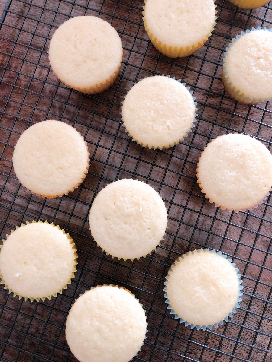 After baking, place your cupcakes on a wire cooling rack/
