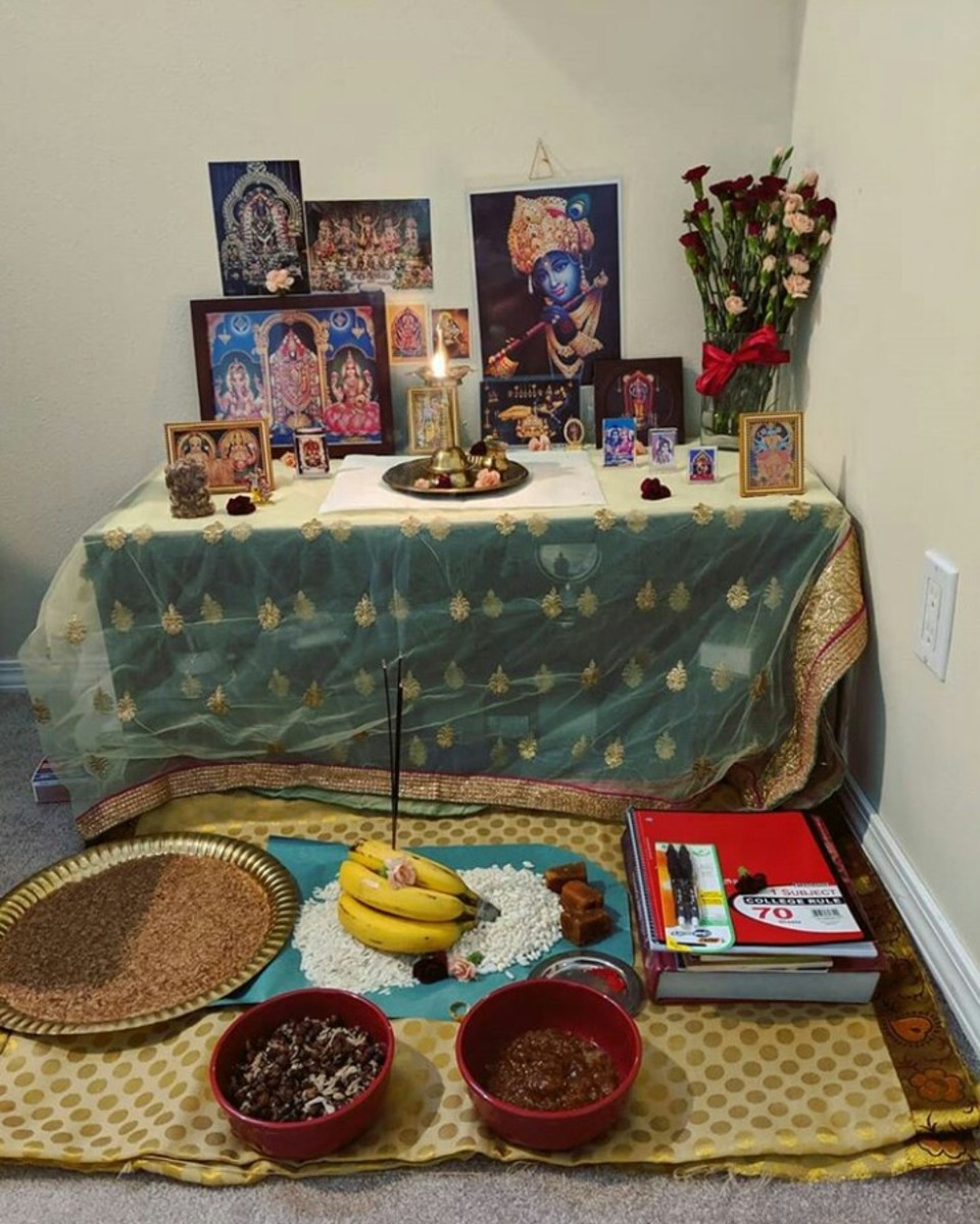 An arrangement created for Vidhyarambham at a home