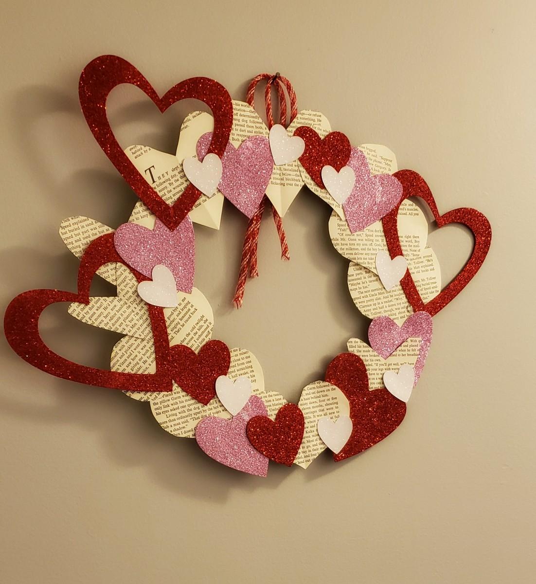 Beautiful glitter and paper heart wreath
