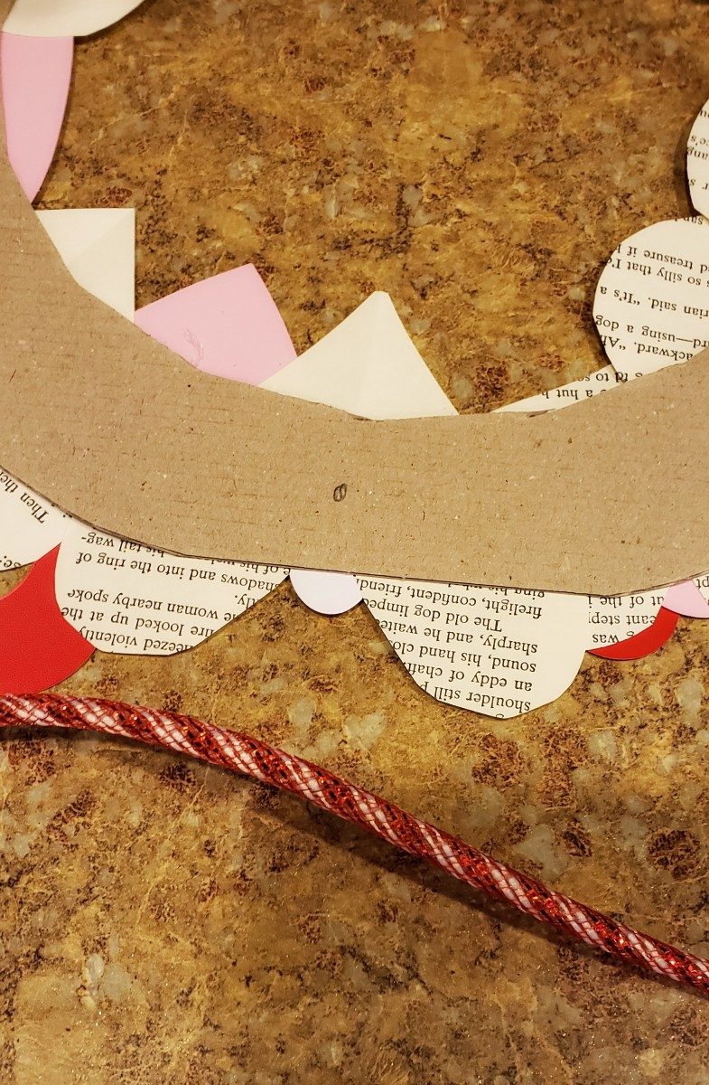 Flip your wreath over and mark where you'd like to place your ribbon.