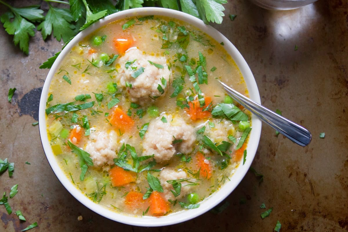 Vegan Matzo Ball Soup—Yum!