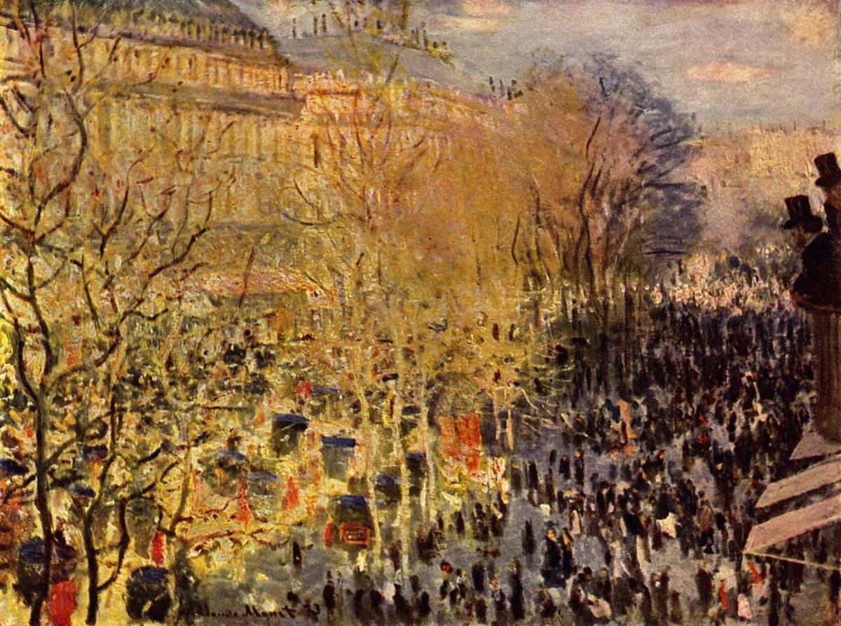 In 1872, Claude Monet painted this depiction of a Parisian Mardi Gras street celebration.
