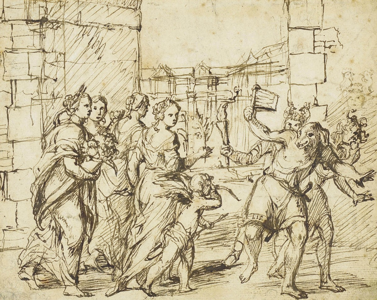 Lupercalia was celebrated in ancient Rome with feasting, street parties, and debauchery.