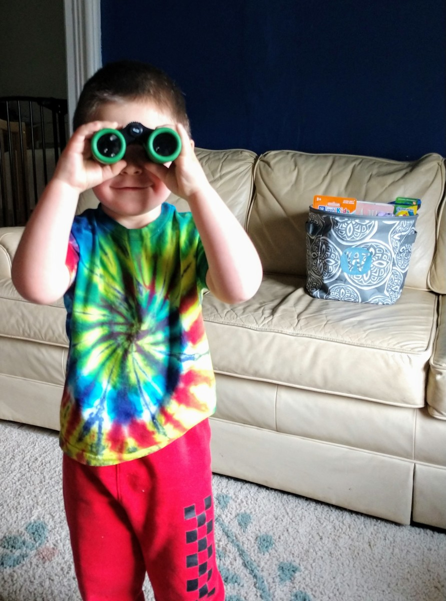 "My Son Trying Out His ""Noculars"""