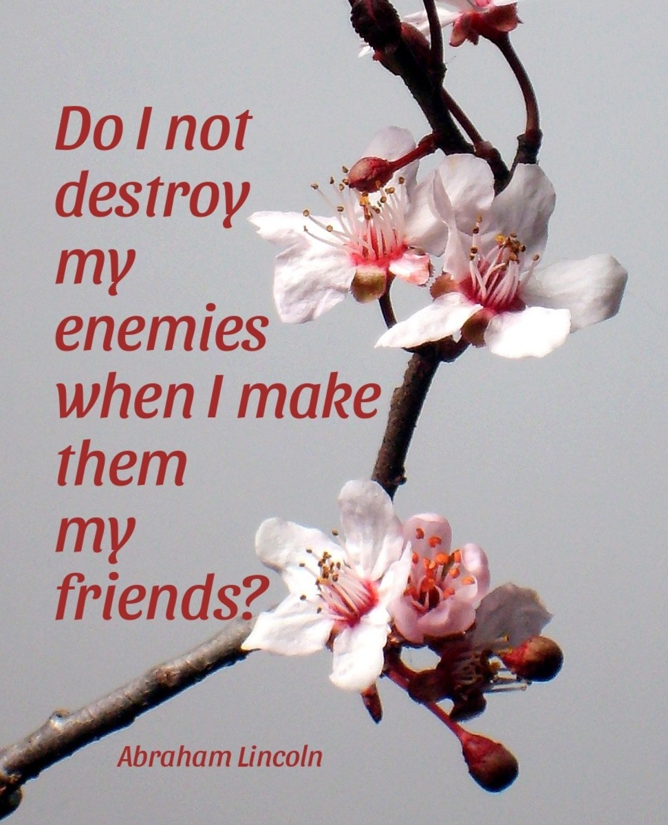 """Do I not destroy my enemies when I make them my friends?"" —Abraham Lincoln"