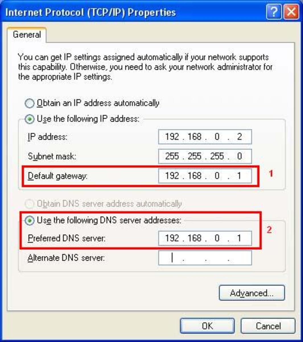 Default gateway & DNS server IP assigning.