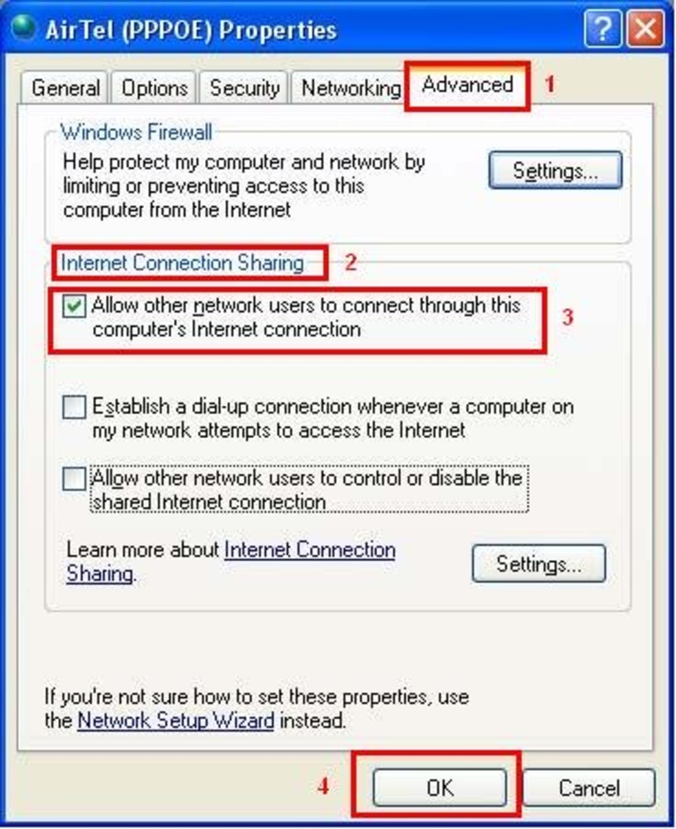 Broadband connection properties dialog box.