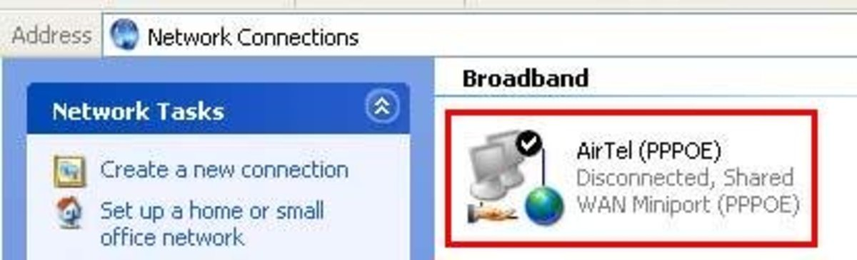 Broadband Connection after successful sharing. Note the hand icon.