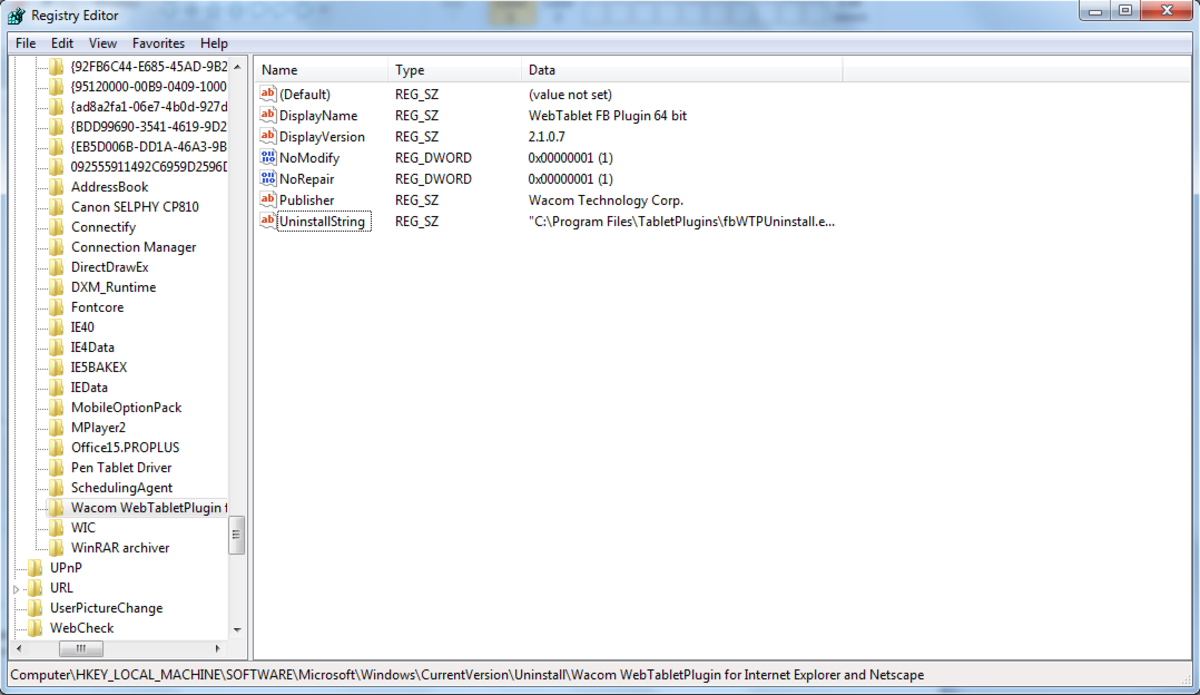 Uninstall folder in Windows Registry.