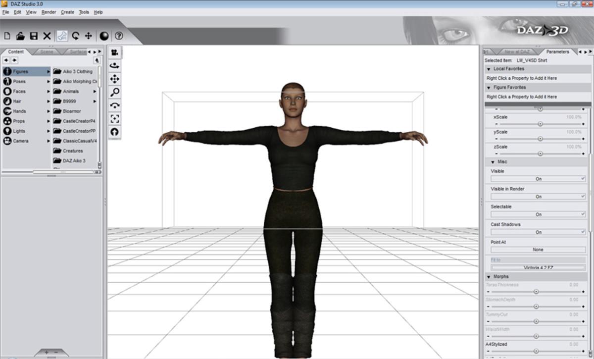 Left: Content toolbar. Center: Active scene window. Right: XYZ movement toolbar