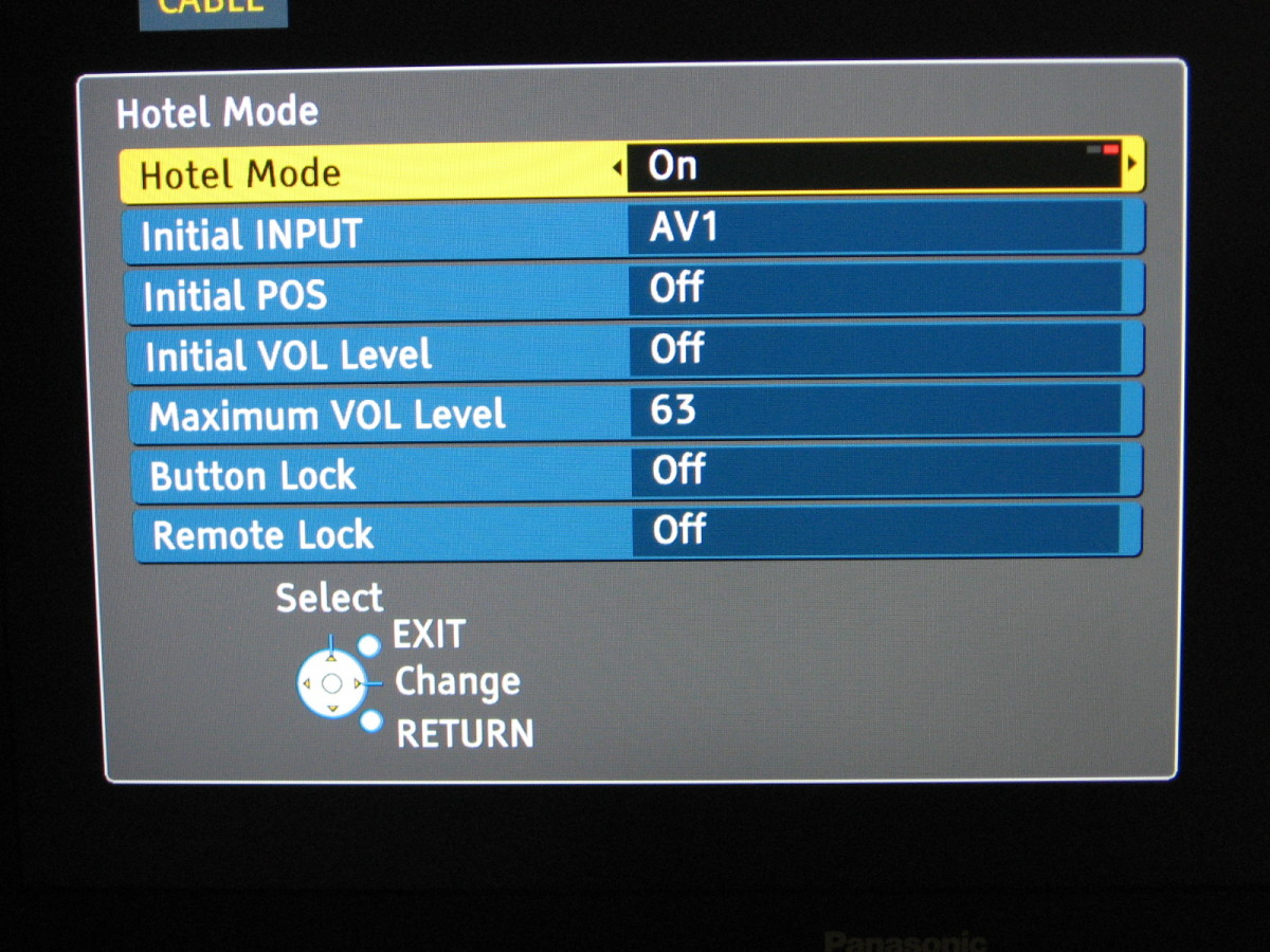 Hotel Mode menu from my TV.