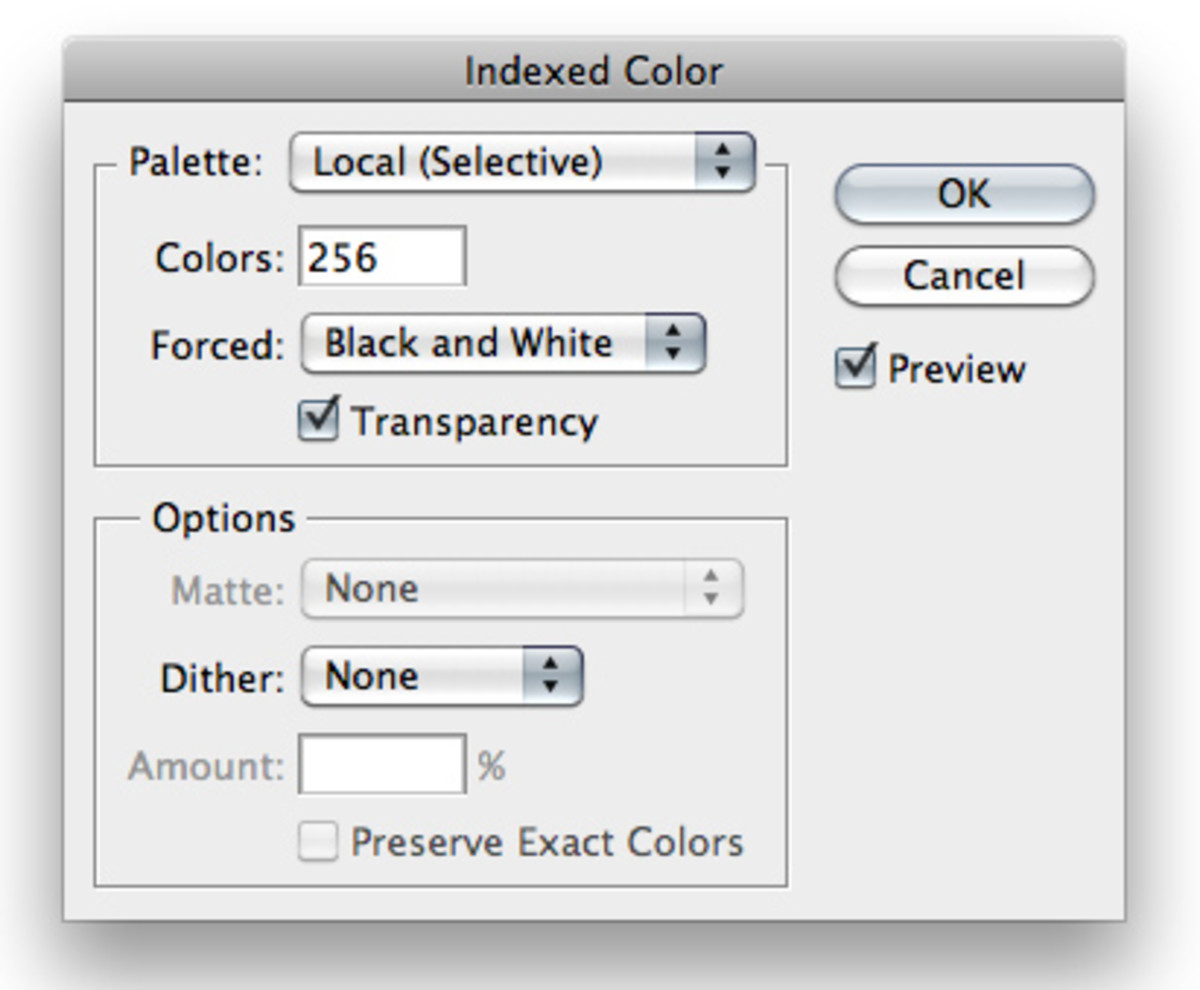 Photoshop Indexed Color Dialog
