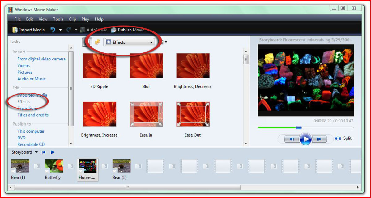 Choose from a large range of video editing effects right on your PC