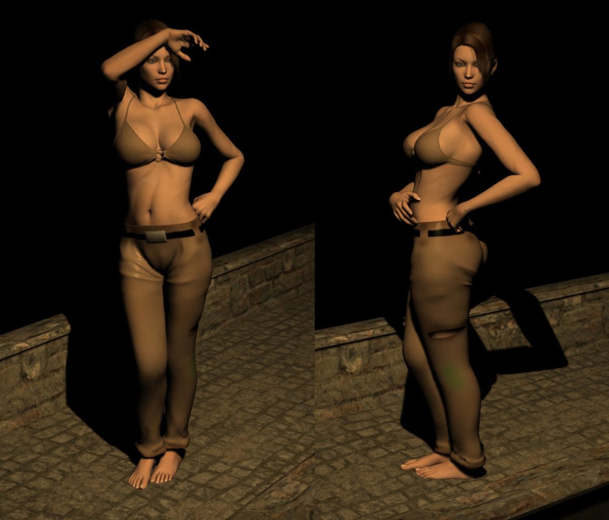 And here is our final product (her pants). Not everything lined up perfectly, but tweaks are easy once you see it on the 3D model. (I forgot to apply the bump map, so to see an example, look at the title picture of this article.)