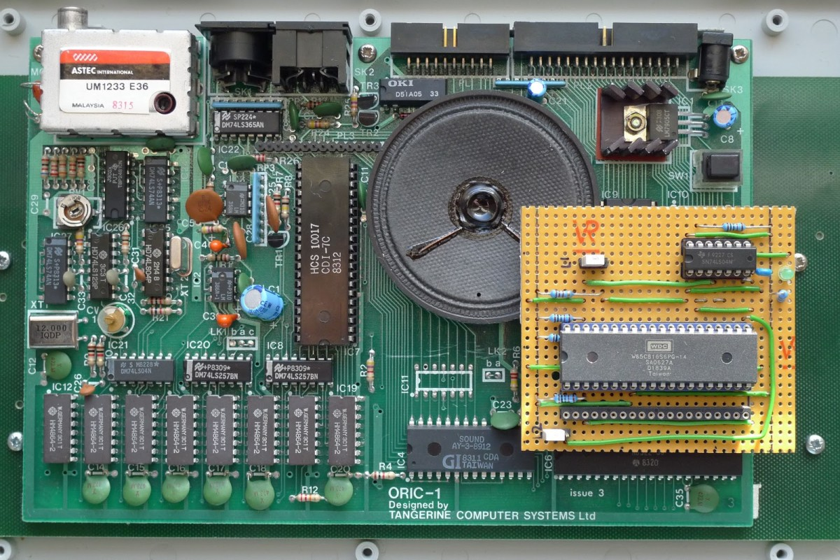 The inside of an Oric 1 machine...