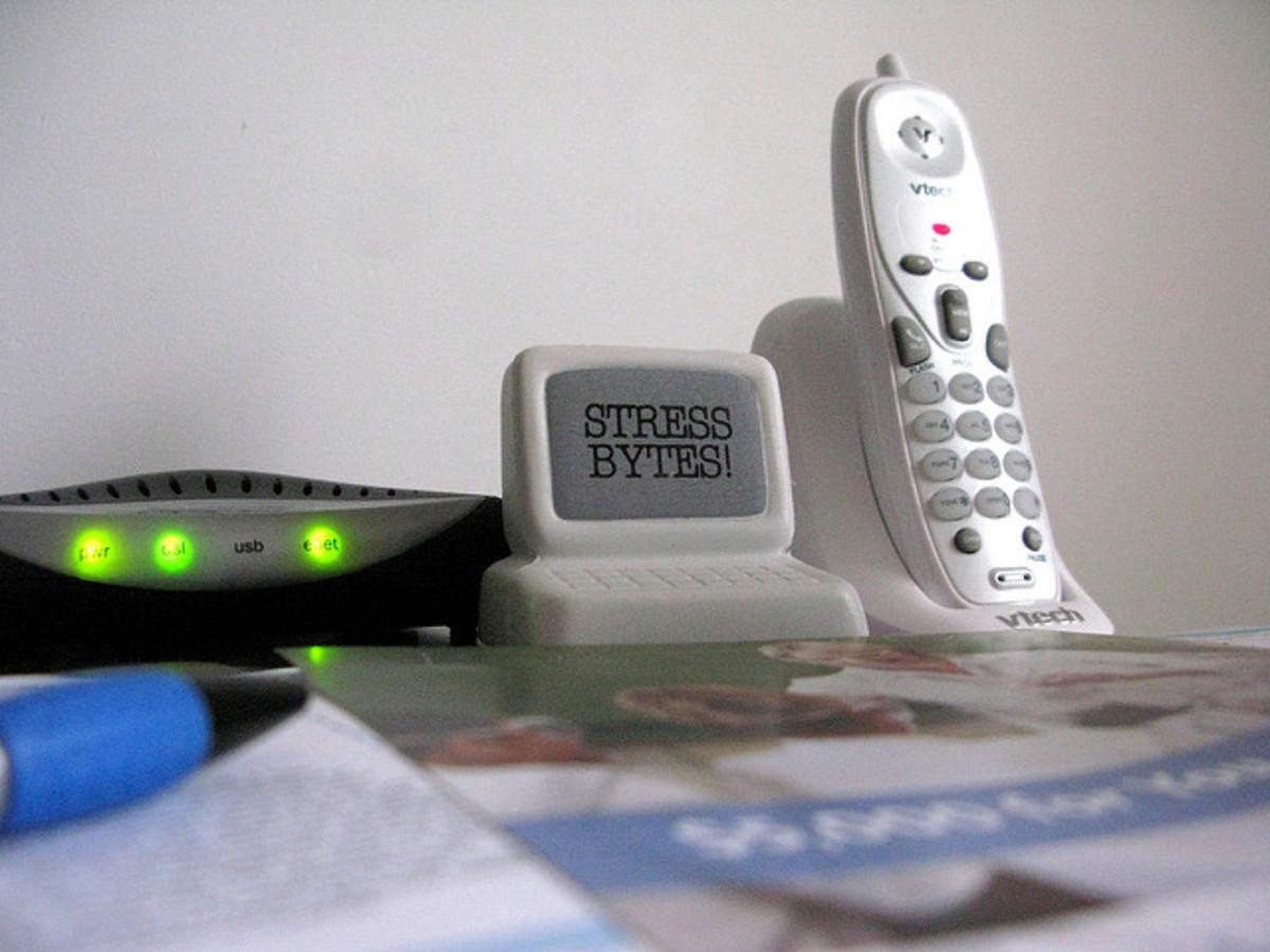 A landline cordless phone.