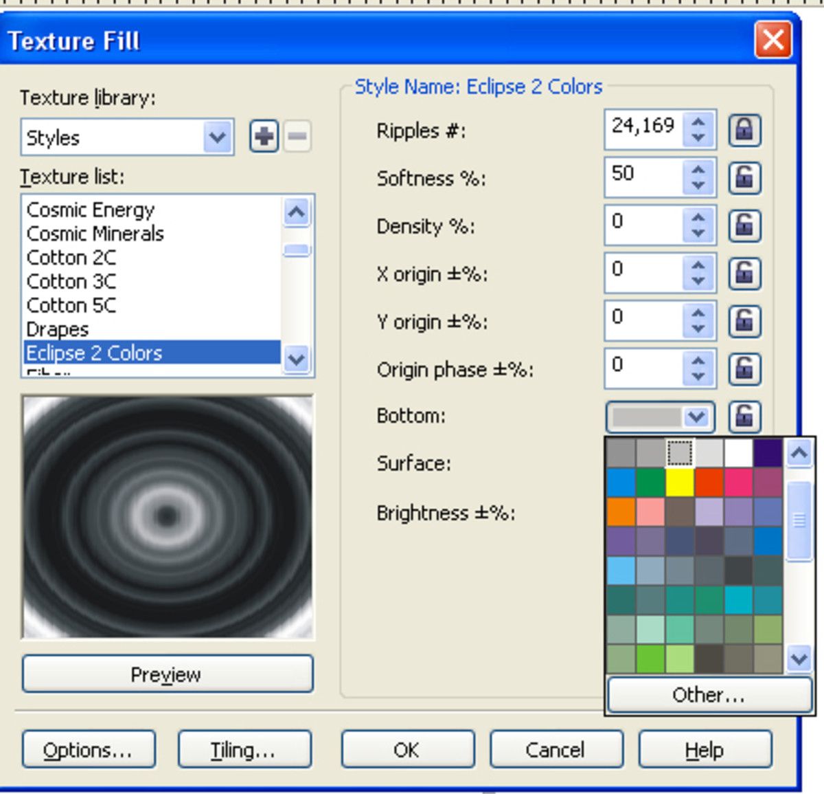 Color settings in Corel
