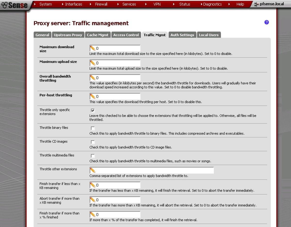 Traffic Management Settings