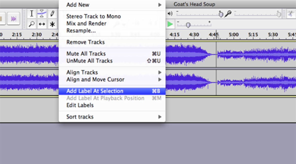 After making a selection between tracks, add the name of the song by clicking Tracks   Add Label at Selection.