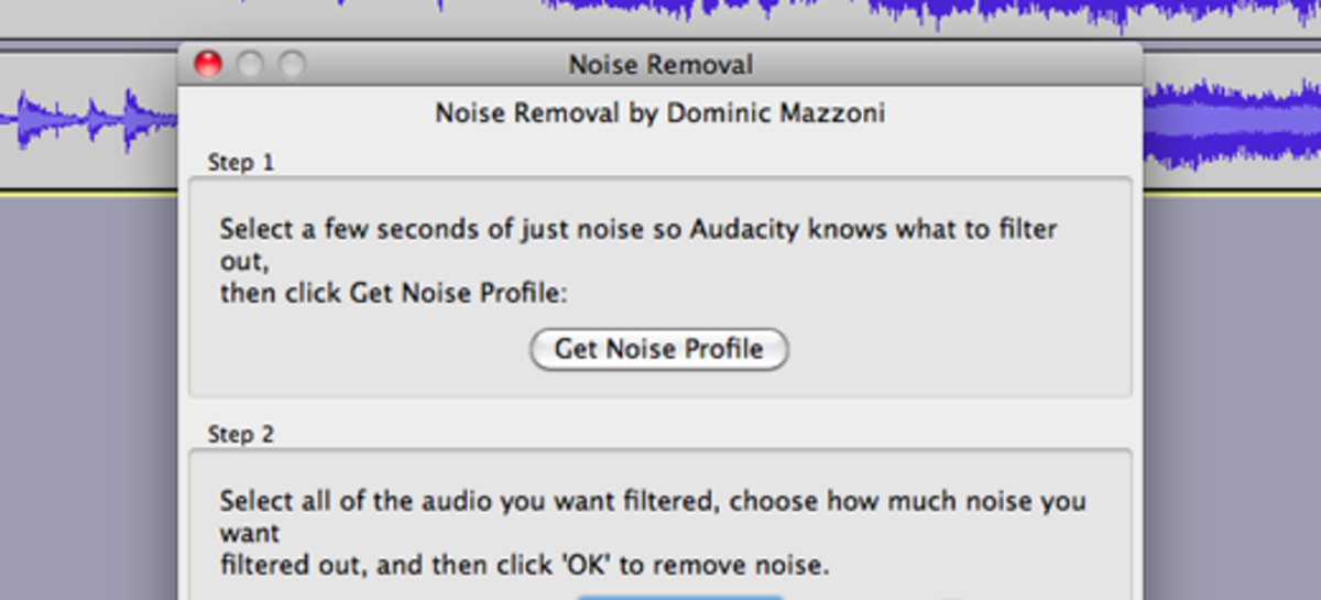 Open the Noise Removal dialog box and click the button to get a noise profile of your project.