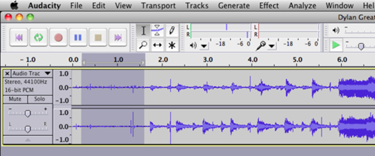 To reduce noise in the recording, select a typical area of your tracks without music.