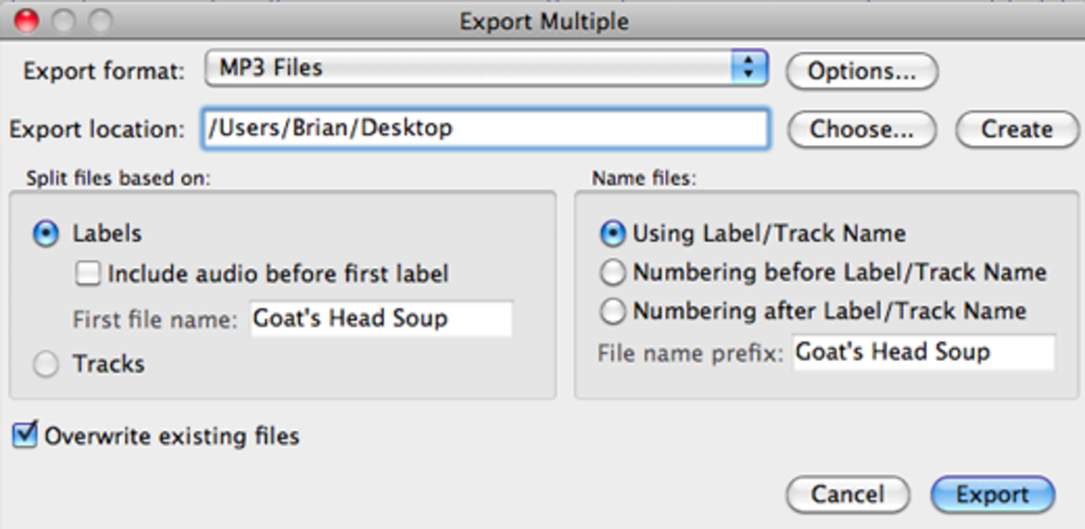 Export your project as individual songs by selecting Export Multiple. Select MP3 ...