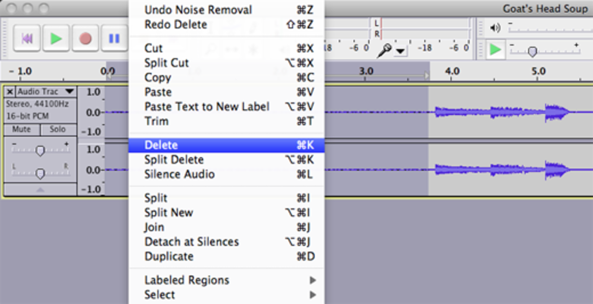 Remove dead space at the beginning of the recording by making a selection just before the first track, clicking Select   Track Start to Cursor, and then deleting the selection.