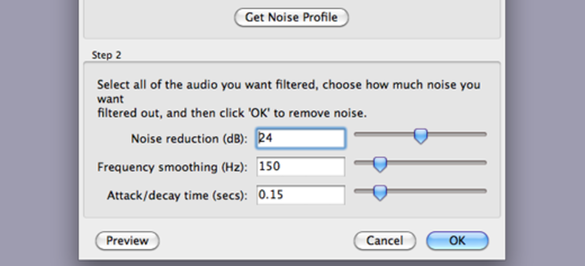 After selecting the entire project, re-open the Noise Removal dialog box and click OK.