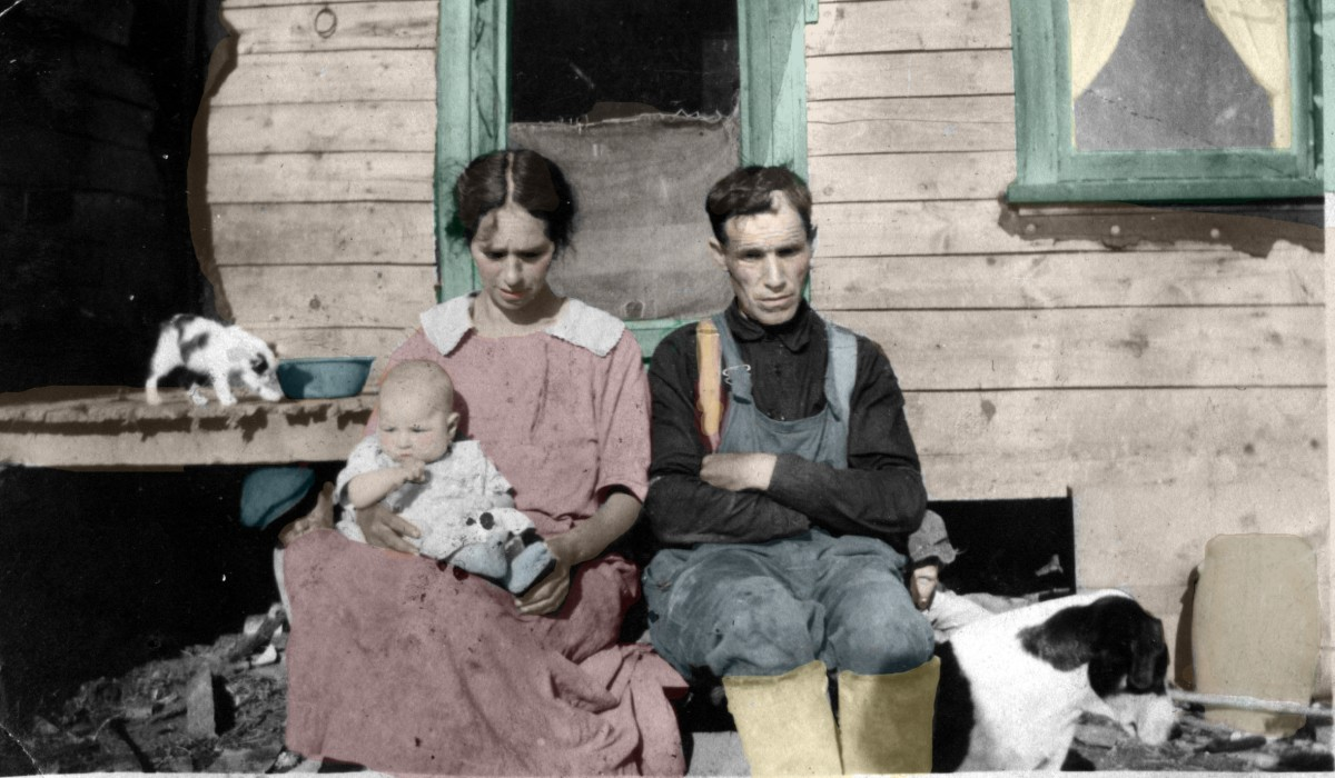 A colorized image.
