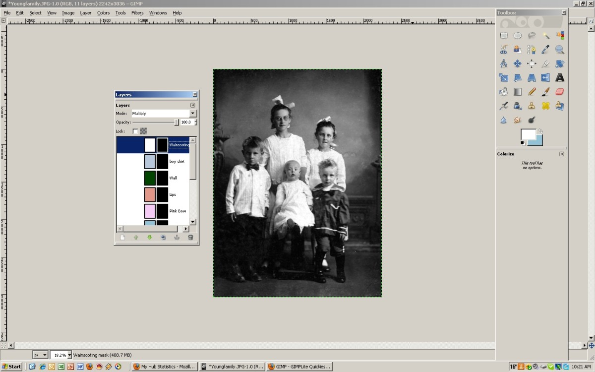 Add a layer mask to each layer (fill with black/transparent). Click to enlarge.